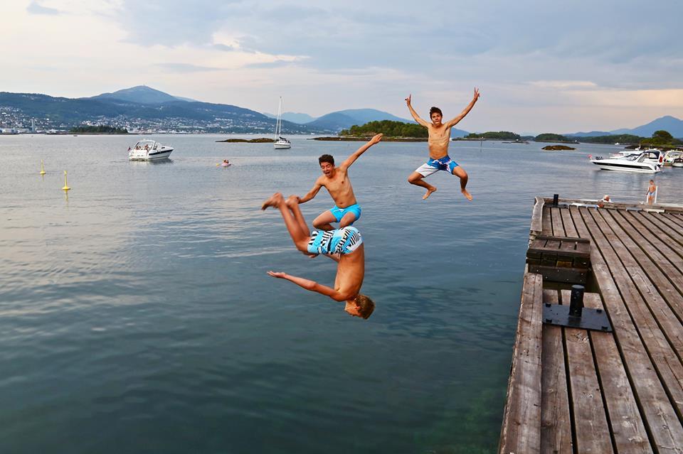 Hopp i havet, for en sommer.                             Foto: Odd Roar Lange