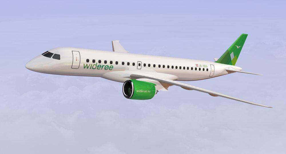 Slik blir de nye flyene til Widerøe. Flyene produseres i Brasil av produsenten Embraer. Illustrasjon: Widerøe AS