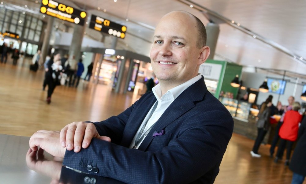 Joachim Westher Andersen, kommunikasjonssjef på Gardermoen. Foto: Odd Roar Lange