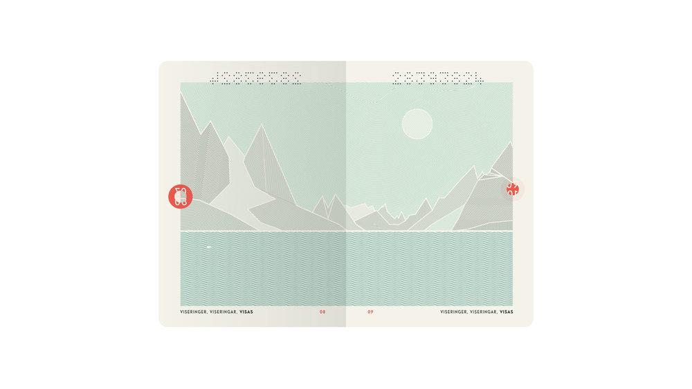 Slik blir det nye passets innsider - med motiver fra norske fjorder og fjell.