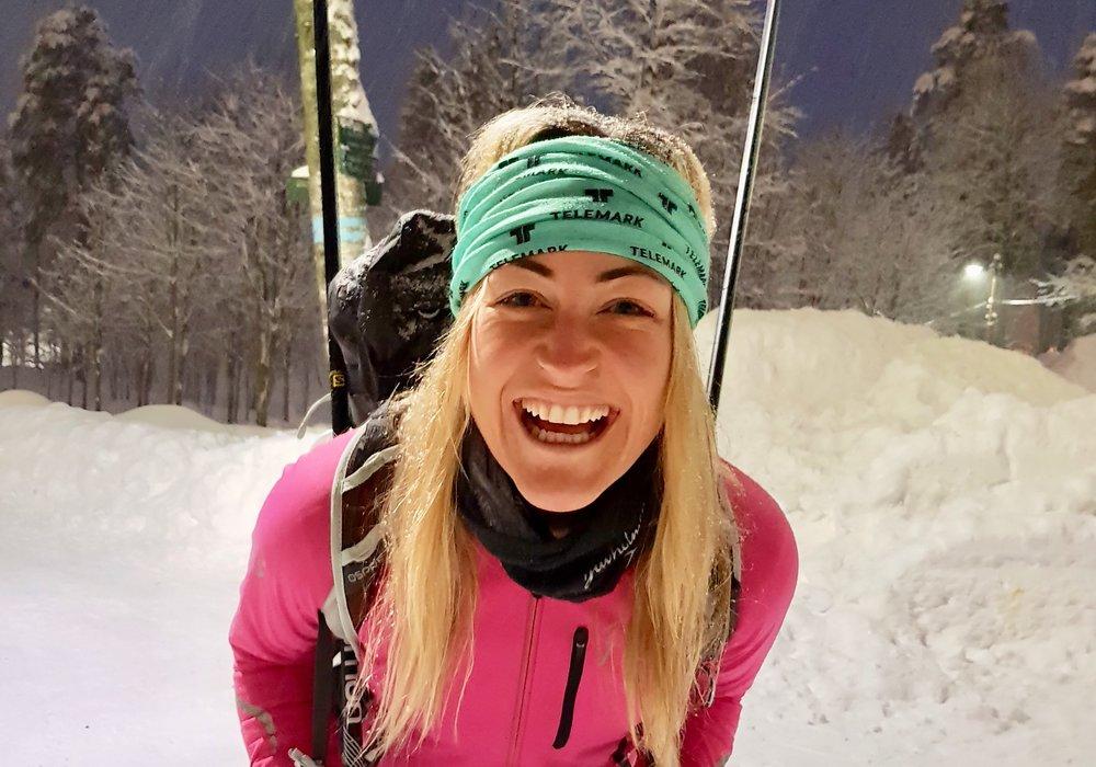 Stine Hartmann jakter på nye vinteropplevelser.              Foto: Visit Telemark