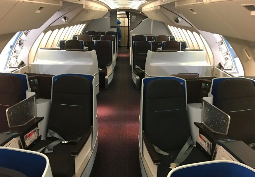 God plass, gode forhold. Slik er det på KLMs business class på de største flyene Foto: Odd Roar Lange