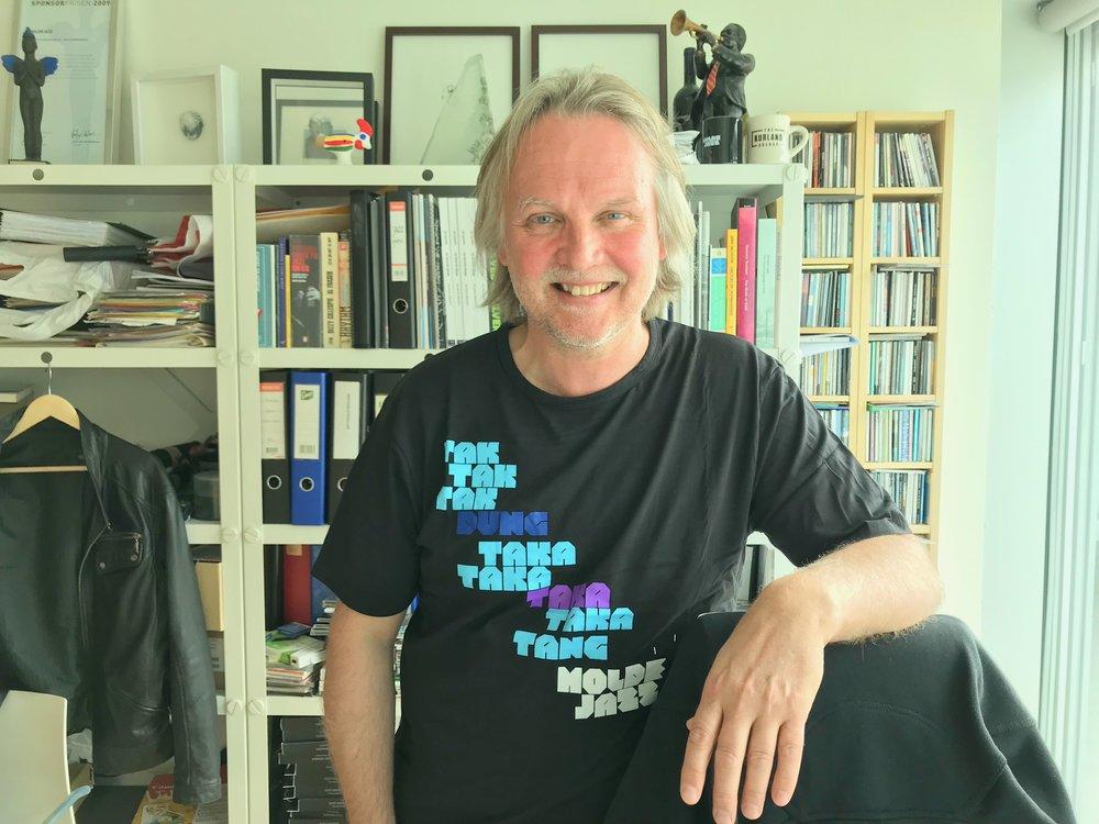 Hans-Olav Solli med årets Moldejazz-t-skjorte.          Foto: Odd Roar Lange