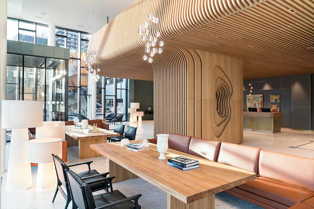 Den nye lobbyen hos Radisson Blu Atlantic Hotel, Stavanger. Foto: Lisa Löwenborg