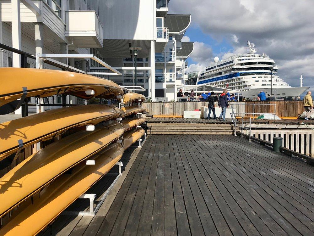 Trist syn. Cruiseskipene har med egne kajakker, mens den lokale arrangørens utstyr ligger ubenyttet på land.                        Foto: Odd Roar Lange