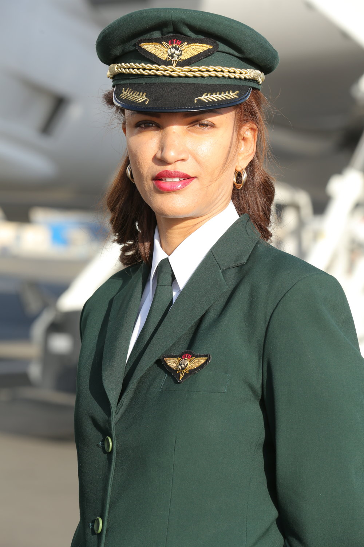 Ethiopian Airlines første kvinnelige kaptein, Amsale Gualu. Hun flyr spesialflyvningen til Oslo. Foto: Ethiopian Airlines