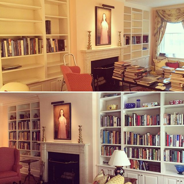 Bookshelves organized by category then alphabetized! #beforeandafter