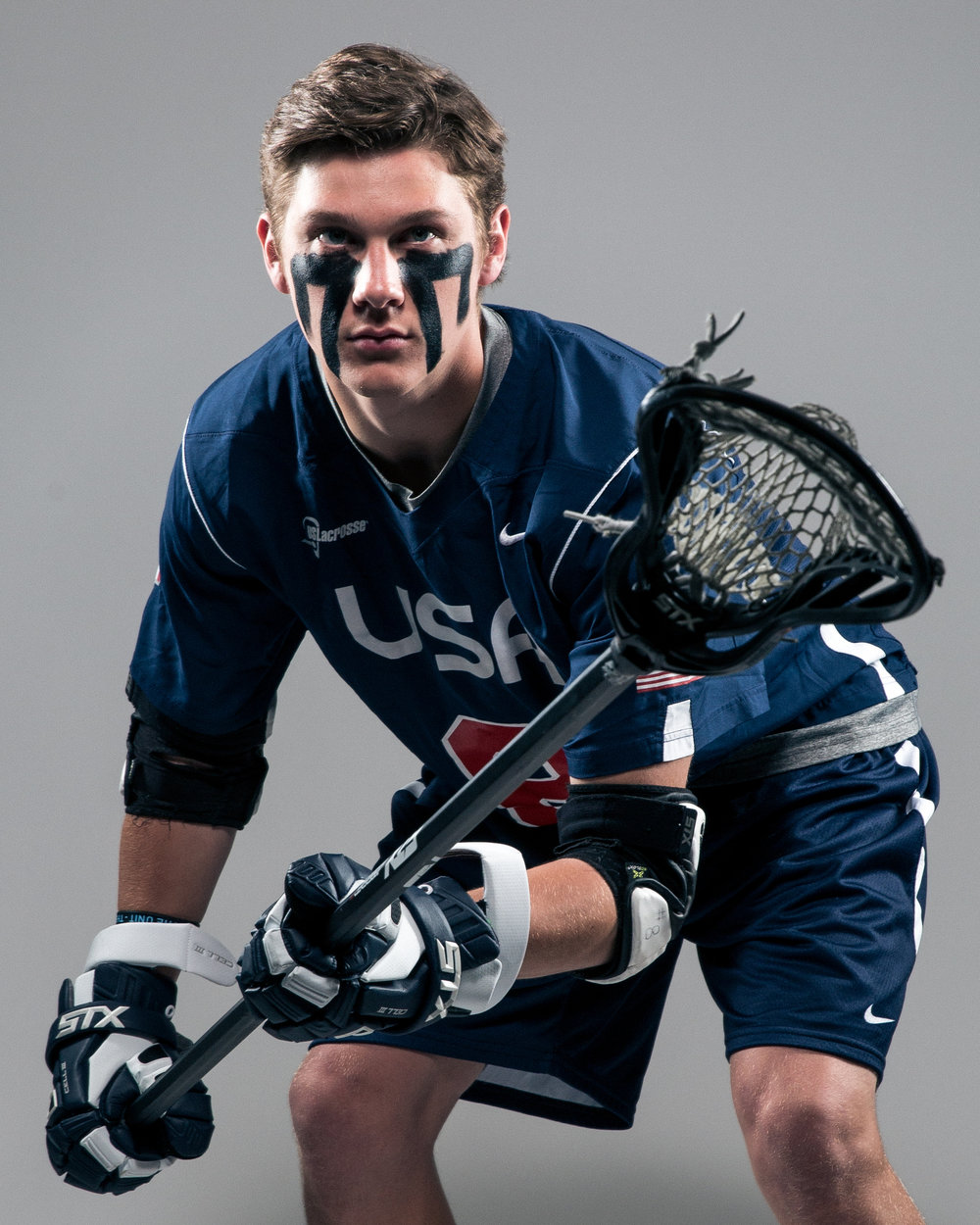 April 28, 2016; Baltimore, MD, USA; Johns Hopkins Blue Jays and U-19 Team USA defender Patrick Foley poses for a portrait at Historic Homewood Field on campus in Baltimore, MD.