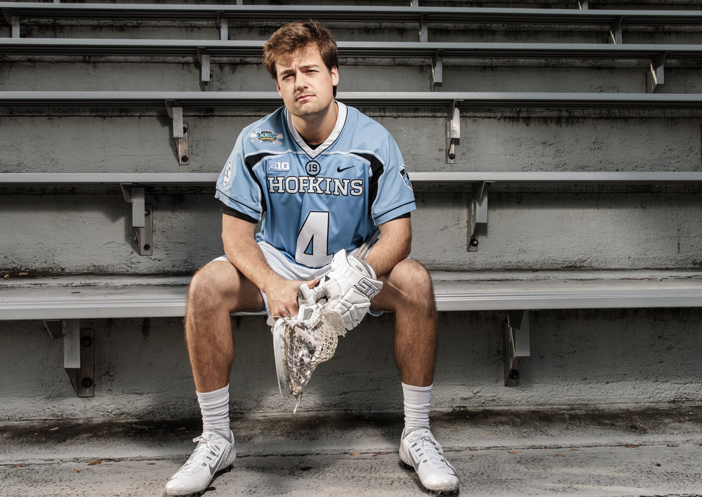 Nov 17, 2015; Baltimore, MD, USA; Johns Hopkins Blue Jays attack Ryan Brown poses for portraits on Homewood Field at Johns Hopkins University in Baltimore, MD.