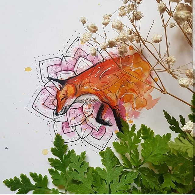 Space next week and I would really love to tattoo this! Facebook Burn The Witch Tattoo for bookings xox 🦊#foxdesign #foxtattoodesign #tattoodesign #watercolourtattoodesign #watercolour #watercolourfox #watercolourdesign #exeter #exetertattooist