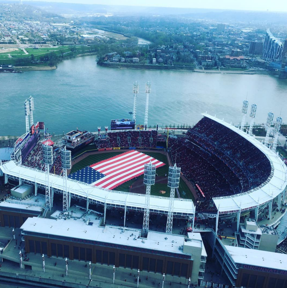 Photo by  @jordanscott9  above Great American Ball Park in Cincinnati, Ohio