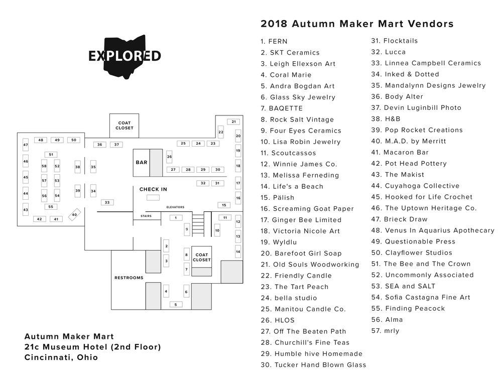 2018 Ohio Explored Autumn Maker Mart Vendor Layout