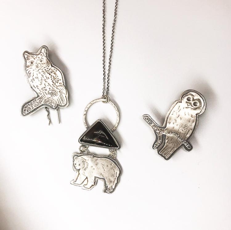 Blue Ridge Owl Hairpins and Bear Pendant.jpg