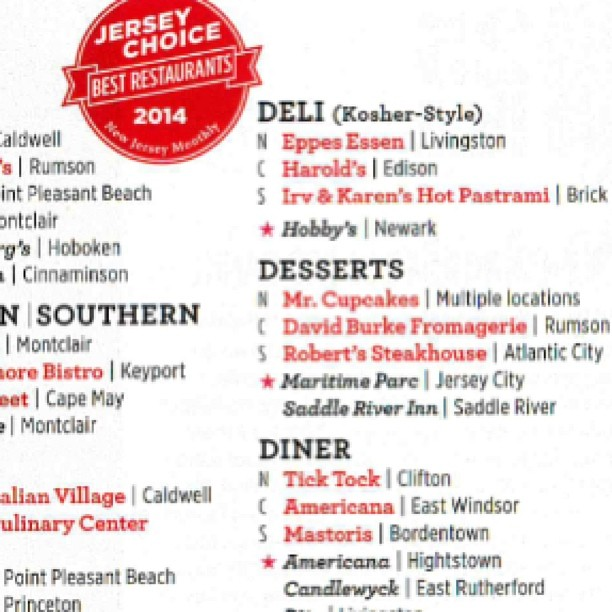 Thank you NJ Monthly Magazine for selecting The Candlewyck as one of the best diners in Jersey!