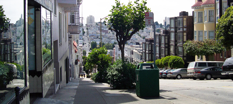 Union Street  is seen dipping down into  North Beach  before climbing west to the top of  Russian Hill