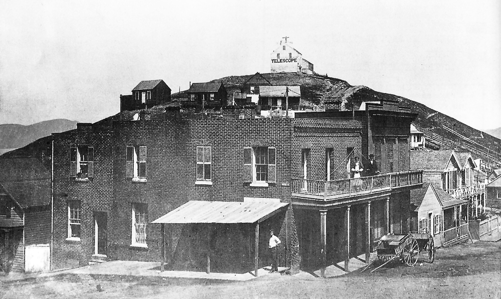 here's how this corner looked  circa 1870 .  The house on the corner is the same one, with the original brick walls.  Behind it is  Telegraph Hill  with a building housing a telescope on the peak. the corner building has been plastered over (the windows and doors still match) and  Coit Tower  has ruled the hill since 1933.