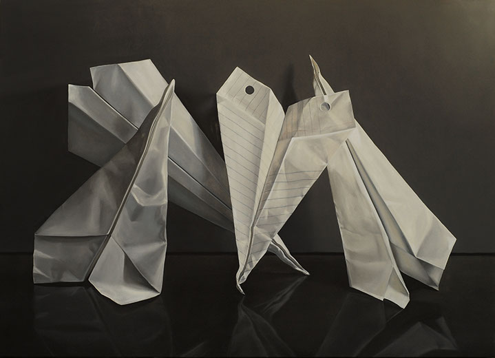 "Jeanne Vadeboncoeur,  ""Weapons of Mass Disruption"", 52""x72"", oil on panel"