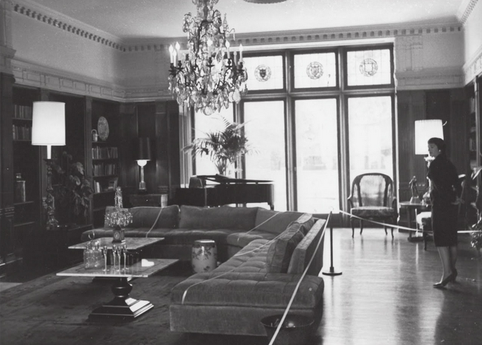 This interior shot captures just one room of the residence's restored glory.
