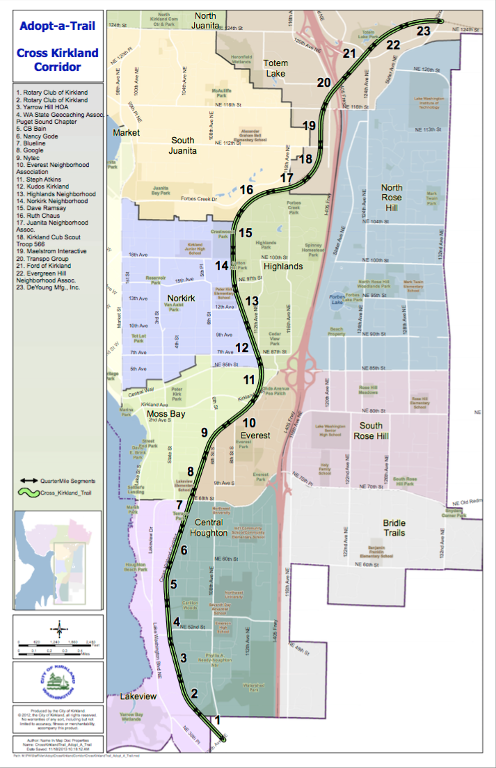 Source: City of Kirkland. Map of the Cross Kirkland Trail Adopt-A-Trail program. Click to download PDF.