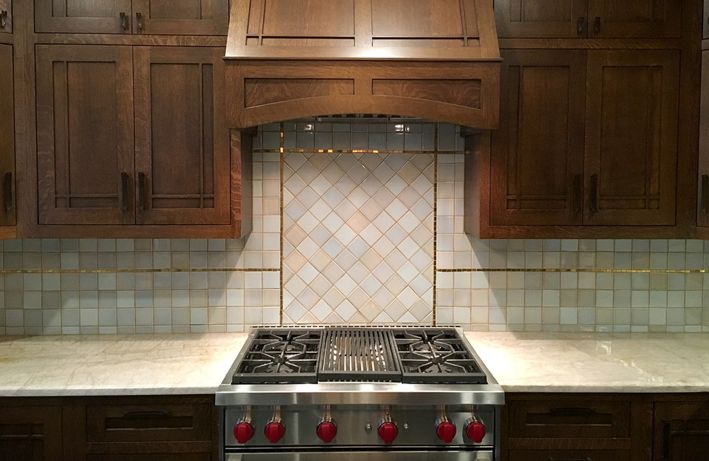 Simple custom 24k gold mosaic backsplash border and kitchen design, Buffalo NY