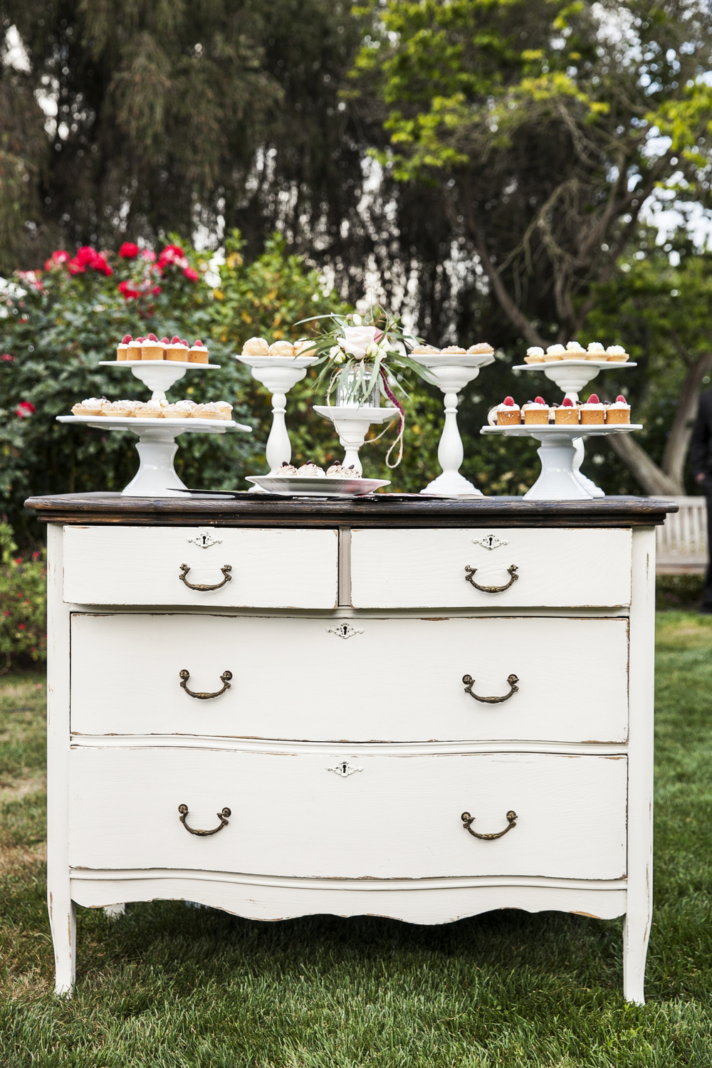 Shabby White Dresser with Wood Top - (1)