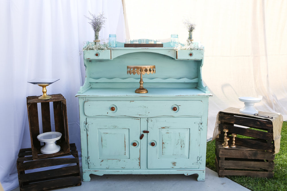 Shabby Mint Green Hutch - (1)