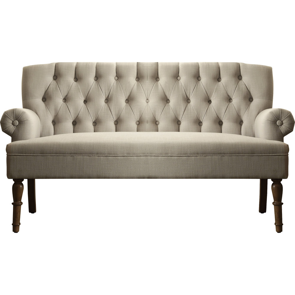 Tufted Beige Settee (1)