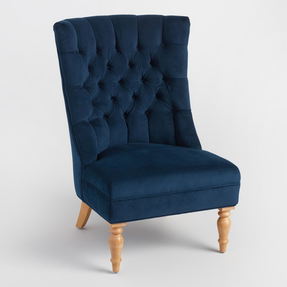 Tufted Navy Chair - (2)