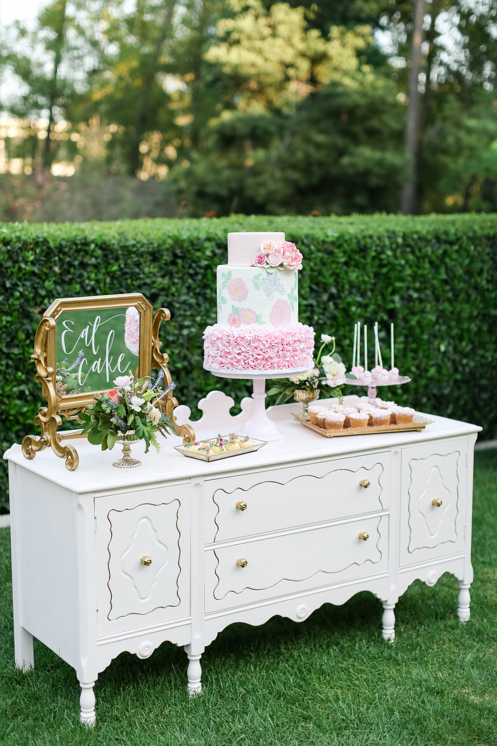 Light Pink Petite Buffet with Gold Knobs - (1)