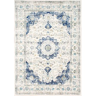 Neutral and Blue 5 x 7 Rug - (1)