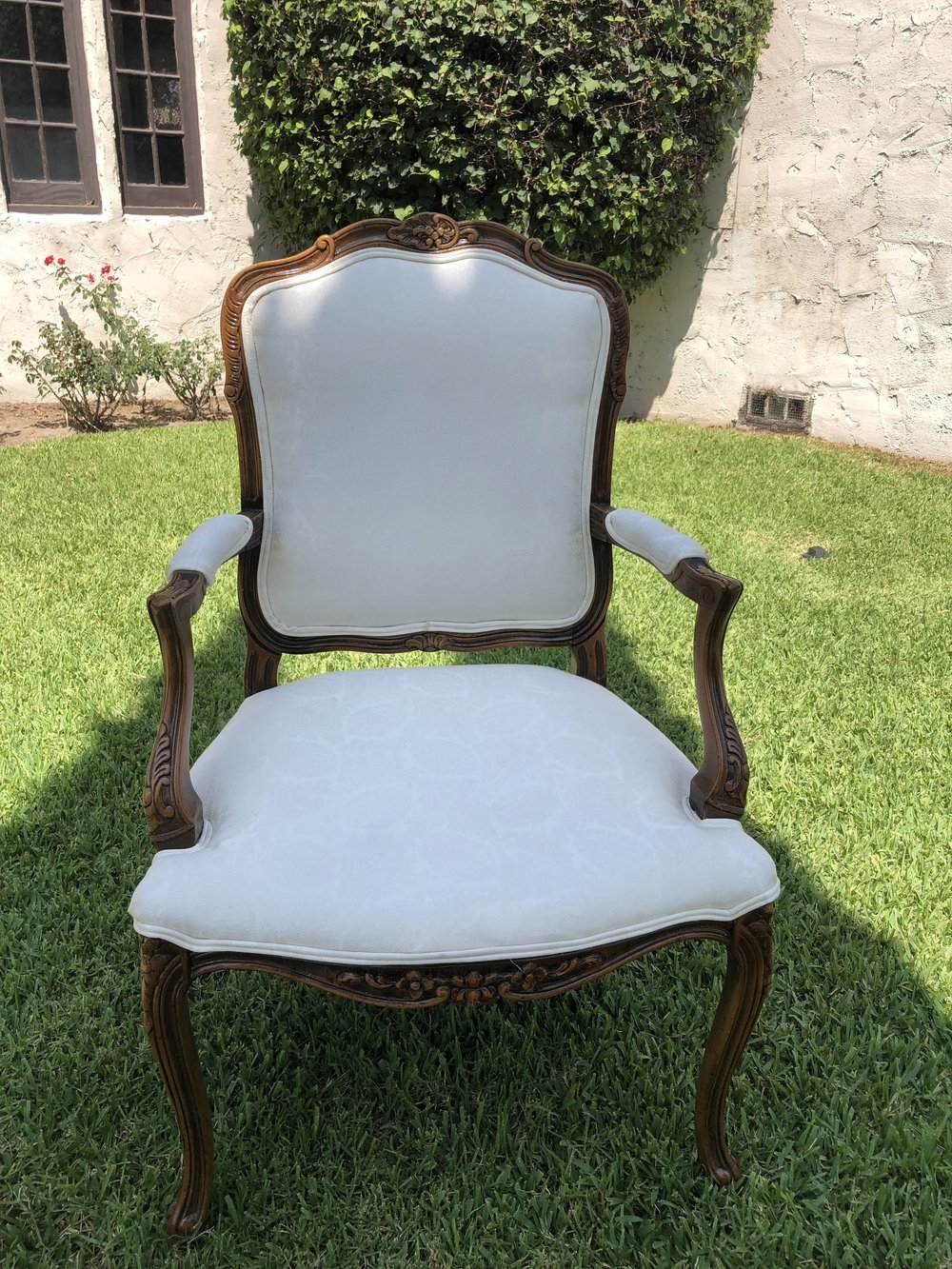 Arm Chair Brocade white Dark Brown trim - (2)