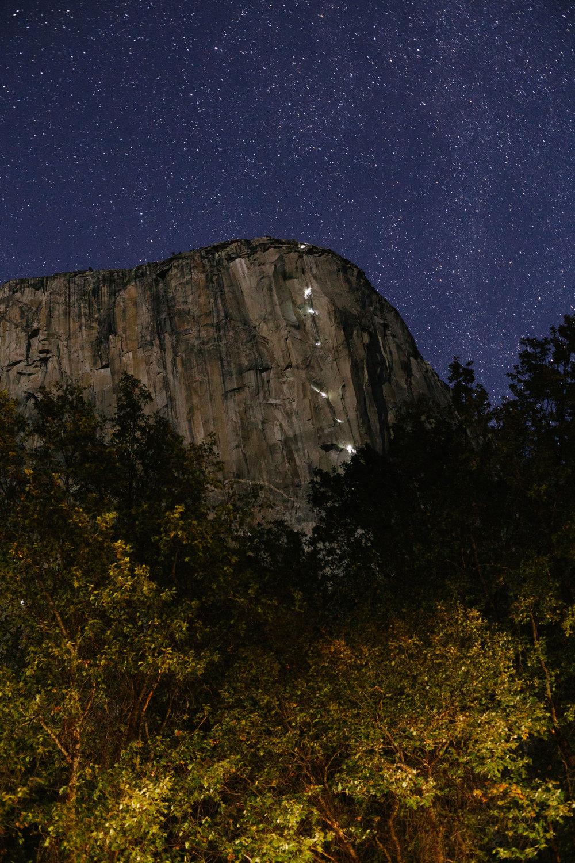 Climbers ascending El Cap just after sunset
