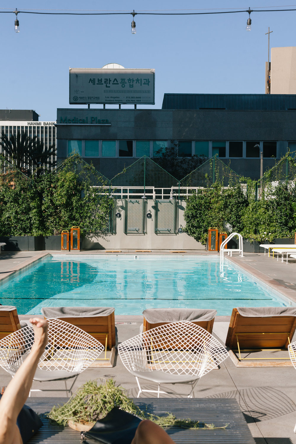 Poolside at the LINE hotel in Los Angeles