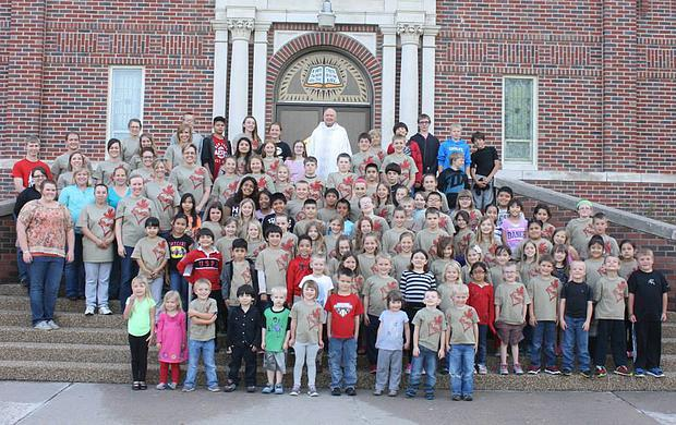 Father Norbert with Share Your Faith students, spring 2015