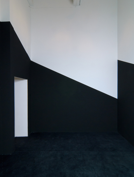 Installation view,  Black Site Analogue, 1,623 Cubic Feet,  2011. carpet, paint, halogen lights. 168 x 196 x 148 in.