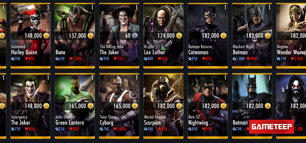 Injustice: GAU's roster of directly purchasable champions