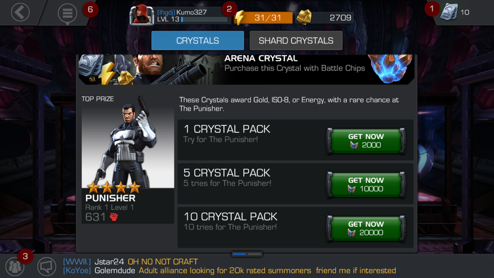 Only The Punisher can be won from Arena crystals and the chances are low