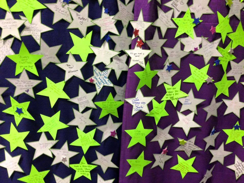 Wall of stars celebrating Esther Day at GeekyCon