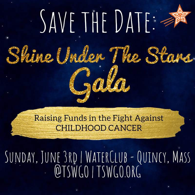 "Come join us for a night of music, silent auction, and excellent food and drink at the enticing WATERCLUB at Marina Bay. This Star Won't Go Out's  Shine Under the Stars Gala  is Sunday, June 3, from 6:30-9:00 pm.  Hosted by author and TV personality  Sorboni Banerjee , you'll enjoy delicious hors d'oeuvres and desserts, wine tastings, music, and a silent auction. You'll meet a ""Star Child,"" be inspired by our Project LOVEly innovators, and congratulate the winners of our high school Essay Contest!  This event allows This Star Won't Go Out, a local nonprofit, to continue giving financial grants to families facing childhood cancer. TSWGO began in 2011, honoring Esther Earl, a local Quincy high school student whose battle with cancer inspired the best seller novel and blockbuster movie The Fault in Our Stars.   Let's  ""Shine under the Stars""  to raise money for families facing childhood cancer. Shine under the stars for someone you love, someone you lost, something you believe in. Dress is cocktail attire. Come dressed to shine in silver, gold, sparkles or stars!   *We appreciate our generous sponsors: Waterclub at Marina Bay, Granite Telecommunications, and FastSigns of Quincy.  Purchase Tickets at  Eventbrite"