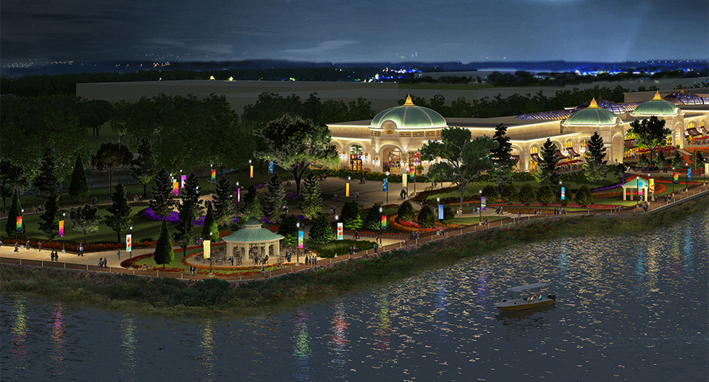 Rendering of the harborwalk at night, courtesy wynnineverett.com.