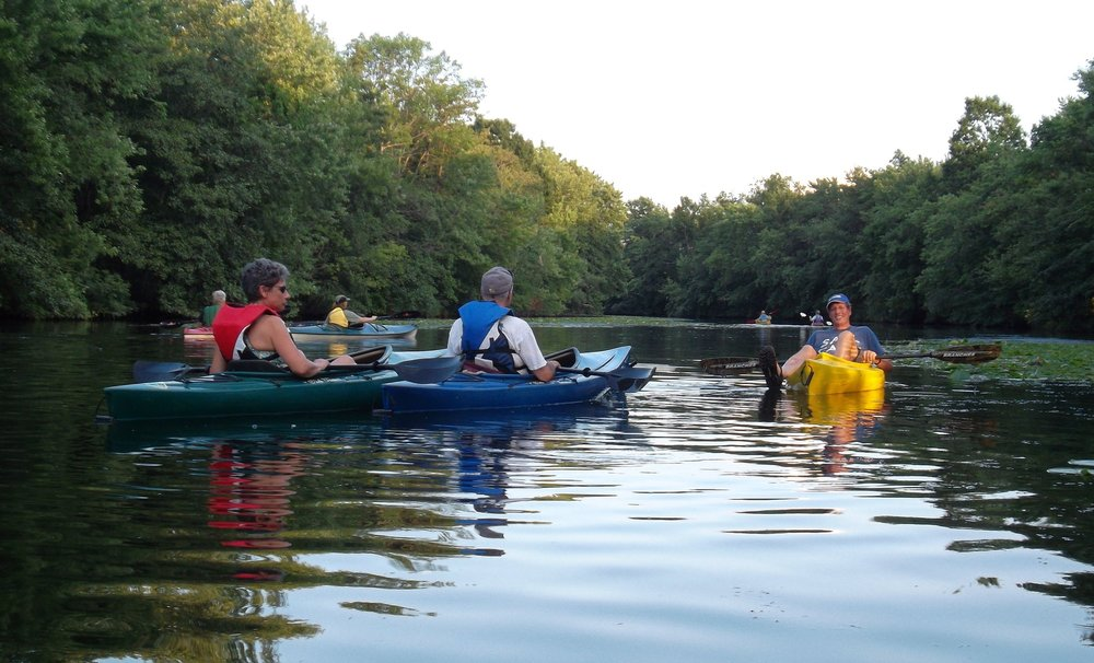 Rick in his element leading a kayak tour on the Mystic River, 2012.