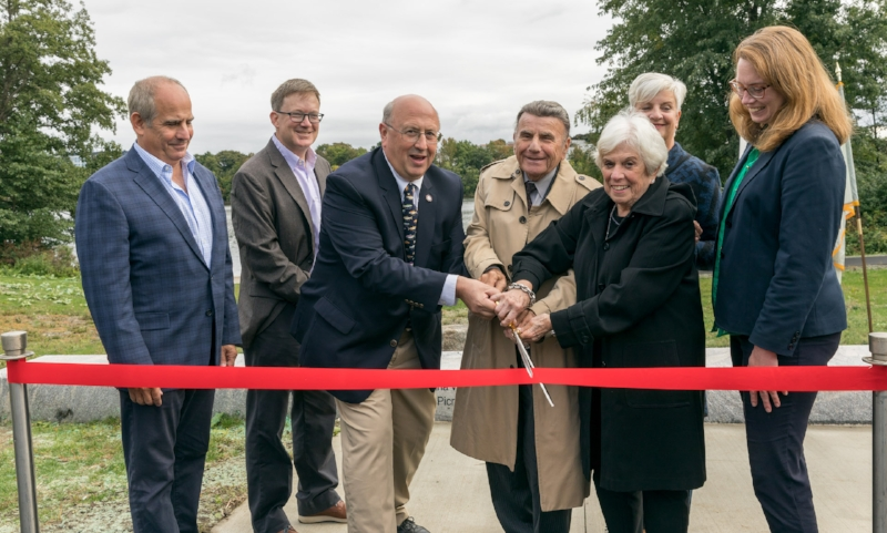 DCR Commissioner Leo Roy joined state and local officials, Howard Wolk and his family and members of the Mystic River Watershed Association to celebrate the new Mystic River overlook. Photos courtesy of Davis Mussina.