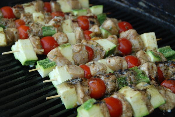 Zucchini, cherry tomato and chicken kbobs
