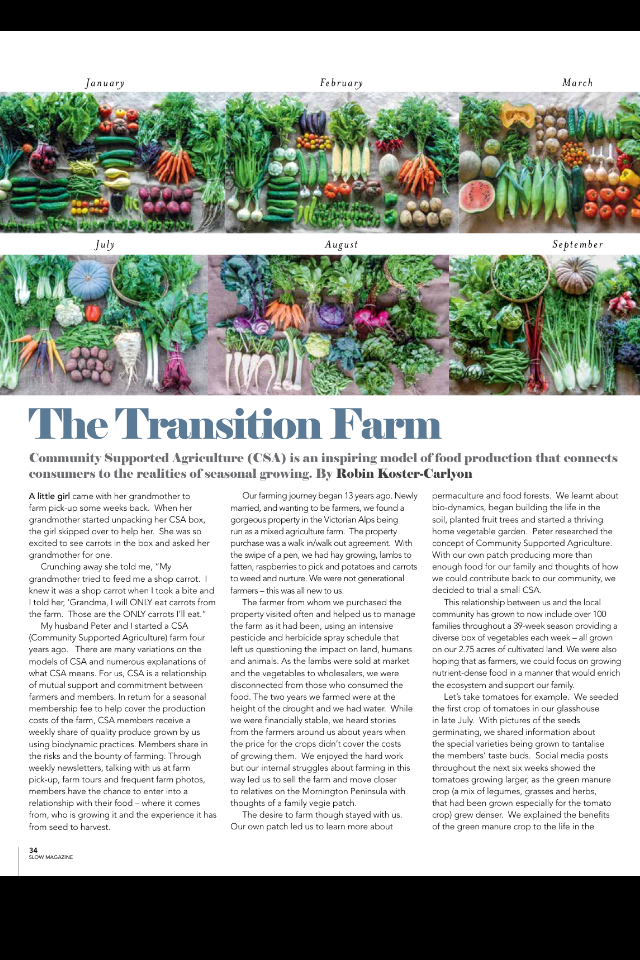 SLOW LIVING MAGAZINE - WINTER 2015 ARTICLE written by Robin Koster-Carlyon about Community Support Agriculture (CSA)