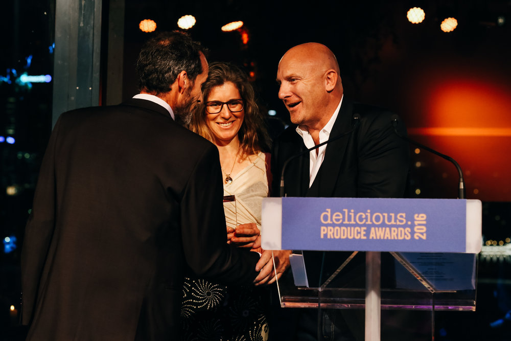 Receiving the National Trophy for the 2016 Delicious Produce Awards from Matt Moran - September 2016 - only marginally out of our comfort zone - but thrilled to have our vegetables judged alongside so many wonderful growers for their taste by Matt Moran, Andrew McConnell, Peter Gilmore, Alla Wolf-Tasker, Maggie Beer, Guillaume Brahimi, Christine Manfield and Shannon Bennett.