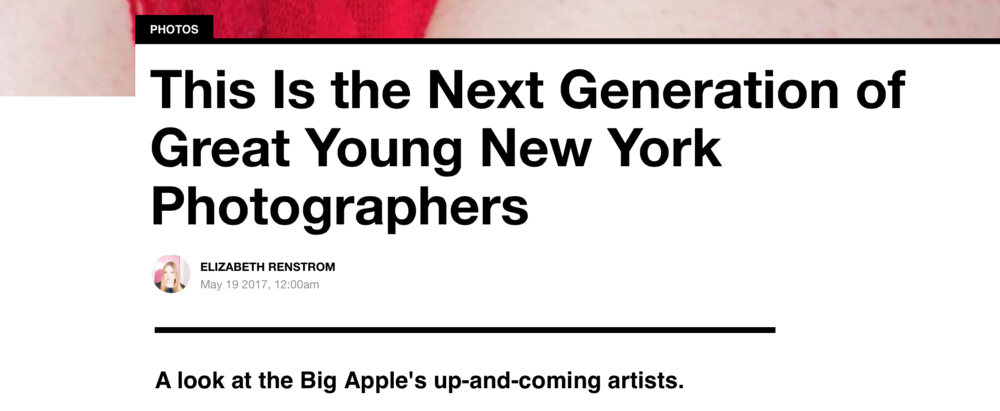 "Featured in Vice's article ""This Is the Next Generation of Great Young New York Photographers"""