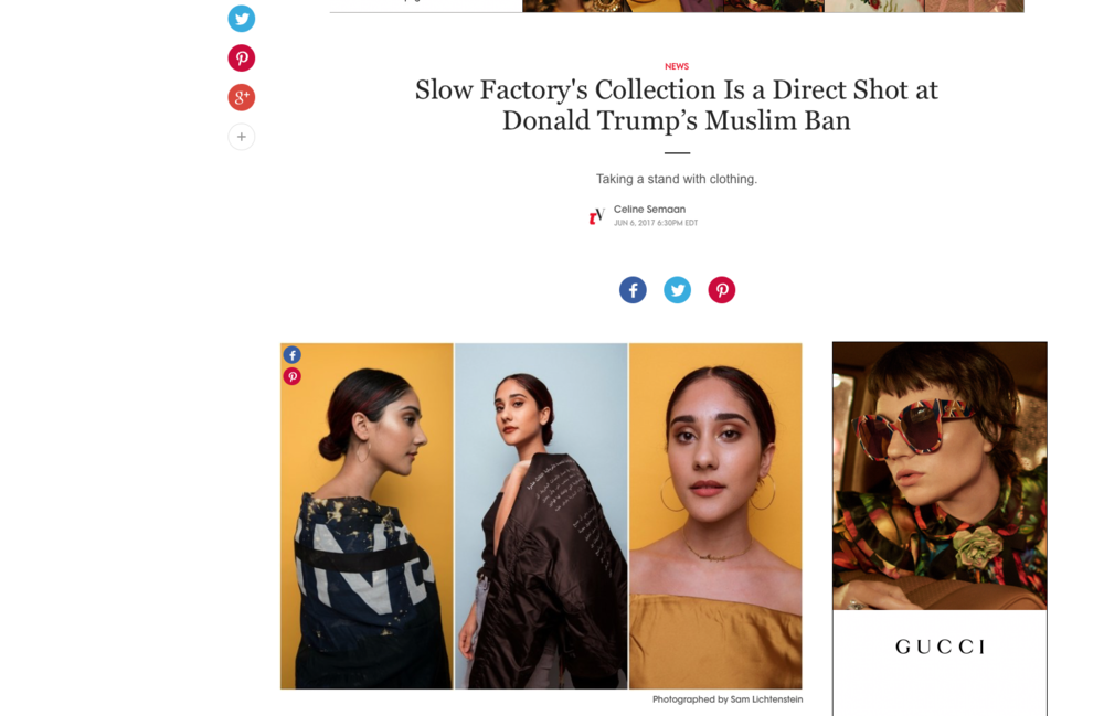 Photos for Slow Factory featured on teenvogue.com: http://www.teenvogue.com/story/aclu-slow-factory-collab-donald-trump-muslim-ban-response