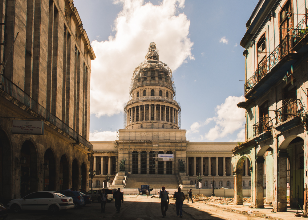 ISO 200 / 17mm/ f14 / 1/100sec -   This is the Capitolio up close. It is currently under renovation by a German contractor. Cubans like to boast that the Capitolio is slightly taller than the United States Capitol building in Washington D.C.