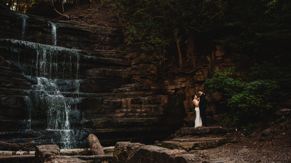 Mocha Tree Studios Ottawa Wedding and Engagement Photographer and Videographer Dark Moody Intimate Authentic Modern Romantic Cinematic Best Candid Princess Louise Falls