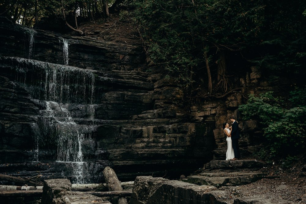 Mocha Tree Studios Ottawa Wedding and Engagement Photographer and Videographer Dark Moody Intimate Authentic Modern Romantic Cinematic Best Candid  Engagement Photo Princess Louis Falls
